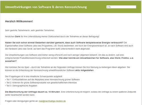 Umfrage Umwelt Software
