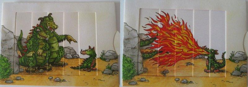 Drachenkind speit Feuer auf große Drachen