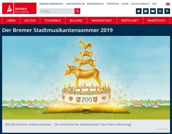 Geburtstagstorten-Skizze mit Stadtmusikanten zum 200. Geburtstag