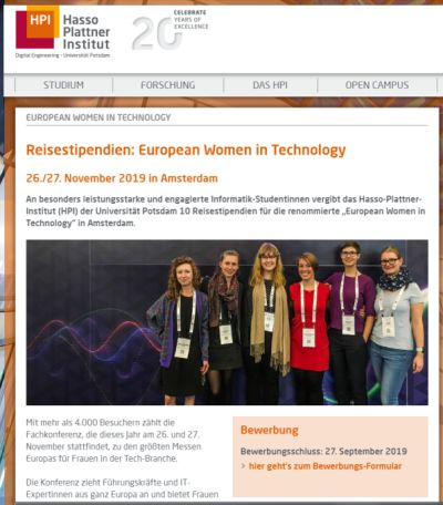 Screenshot der Stipendium-Website