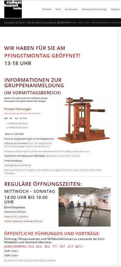 Screenshot Ausstellungswebsite