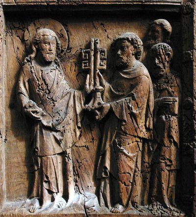 Steinrelief mit Christus mit dem Bremer-Stadtwappen-Himmelsschlüssel