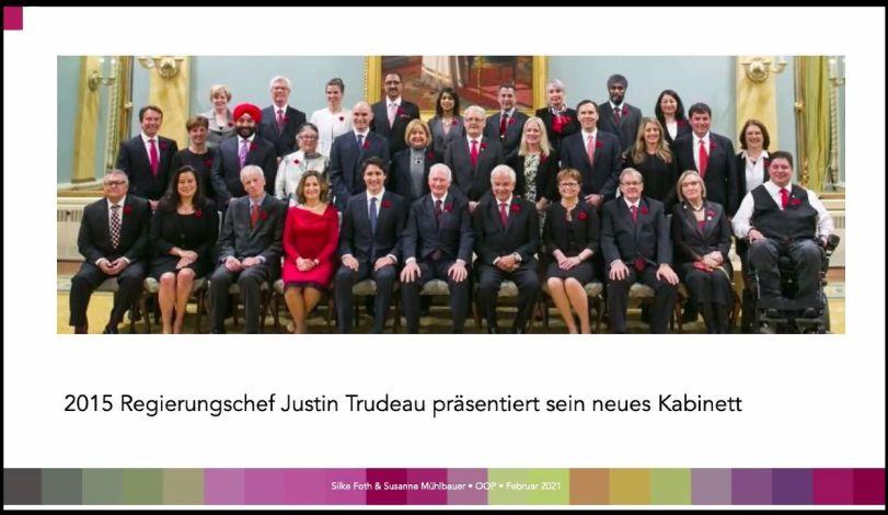 Foto Regierung Trudeaut Kanada 2015 mit diverser Besetzung