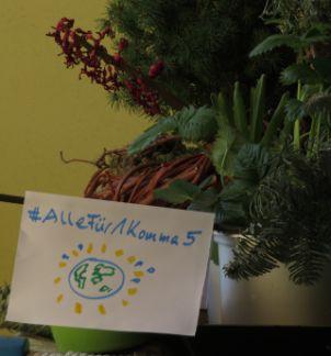 Balkonplakat mit #Allefür1Komma5