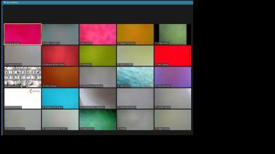 Kameras mit Haftzetteln zugehalten ergibt ein buntes Zoom-Mosaik