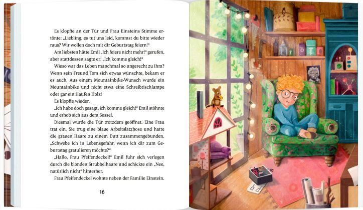 Seite aus dem Inhalt: Geschichte und Bild mit Emil auf einem Sessel
