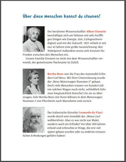 Inhaltsseite 'Über diese Menschen kannst Du staunen - Albert Einstein, Bertha Benz, Leonardo da Vinci