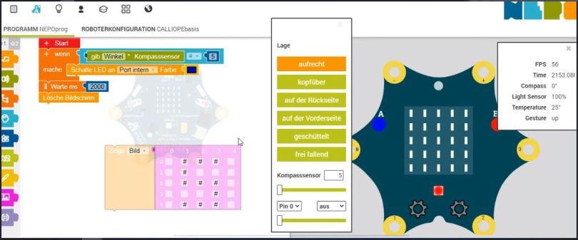 Programmcode und Simulationsumgebung Calliope Mini