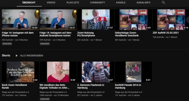 Screenshot mit Videos zu Themen wie Instagramm mit dem Smartphone, Zoom benutzen, weitere Infos und Medienbeiträge zum Verein und zu Aktivitäten