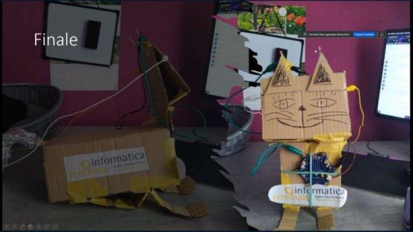 Screenshot Abschlusspräsentation Haustier-Robot mit Kartonkatze