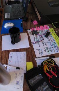 Arbeitsplatz mit Rechner, Thermoskanne, Papier, Stiften, Calliope, Krokodilklemmen...