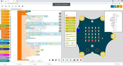 Programmcode und Simulation in der Editoransicht