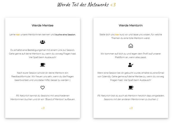 Screenshot mit Texten, wie man mitmachen kann